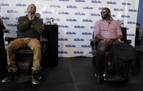 Shane Victorino sat down to have his beard shaved along with David Ortiz at Gillette World Shaving Headquarters in Boston.