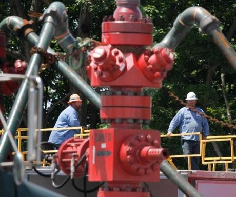 Workers monitored a pump used in a natural gas hydraulic fracturing operation in Claysville, Pa.