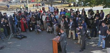 A day after squeezing out a narrow victory over John R. Connolly, mayor-elect Martin J. Walsh held a news conference on Boston Common.