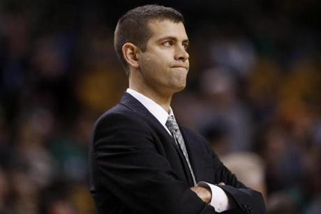 Celtics coach Brad Stevens earned his first victory in a regular season game.
