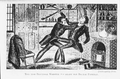 An illustration of John Webster assaulting George Parkman in 1849.
