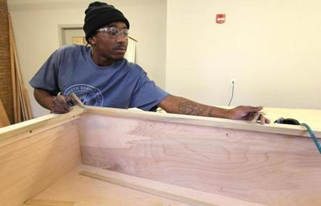 Keimody Crockett is one of 15 carpentry students of varied backgrounds who range from 19 into their 40s. Each student treats the others with respect, he said.