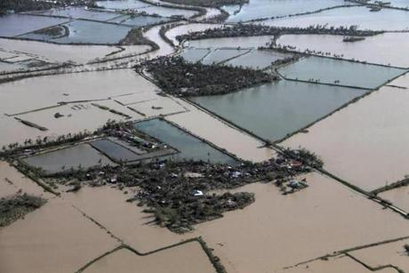 Flooded rice fields were seen after Typhoon Haiyan hit Iloilo Province, central Philippines.