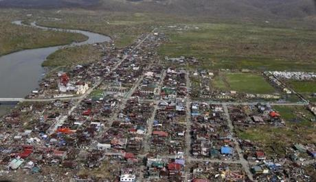 An aerial view of the town of Guiuan.