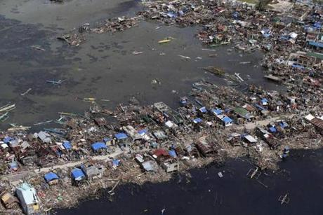 An aerial view of the devastation from Typhoon Haiyan in the town of Guiuan, eastern Samar province, Philippines.