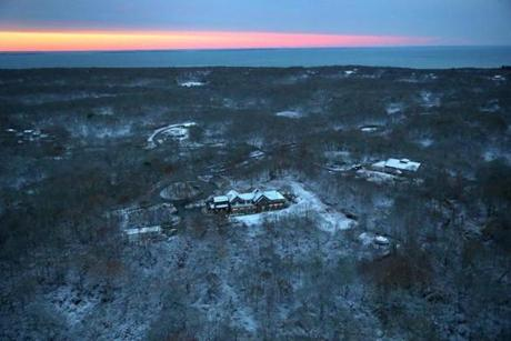 The Wampanoag Tribe of Aquinnah plans to convert an unfinished community center (right) into a gambling hall.