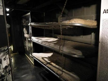 Destroyer crewmen slept in narrow berths like this one below decks.