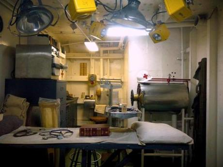 The grim-looking sick bay aboard a destroyer provided plenty of incentive for seamen to stay healthy.