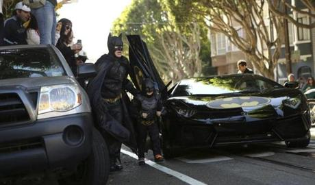 Miles, accompanied on his adventures by an adult Batman impersonator, was diagnosed with leukemia when he was 18 months old and is now in remission.
