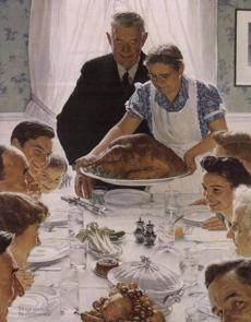 """Freedom From Want,"" a 1943 work by Norman Rockwell, whose life is recalled in ""American Mirror."""