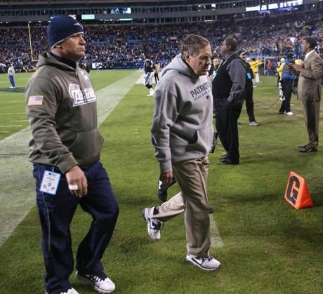 Patriots head coach Bill Belichick walked off the field after the loss.