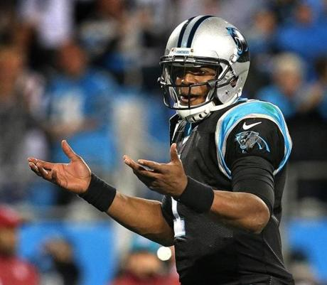 Newton reacted after throwing the game-winning TD.