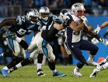 Running back Shane Vereen broke free of a pack of Panthers defenders on this run in the fourth quarter.