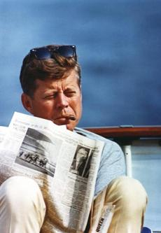 "A file picture dated Aug. 31, 1963, shows President John F. Kennedy aboard the ""Honey Fitz"" off Hyannis Port."