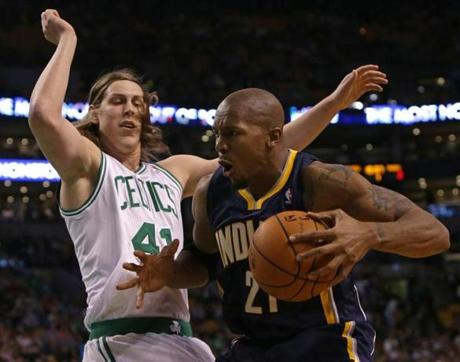 David West worked against Celtics center Kelly Olynyk.