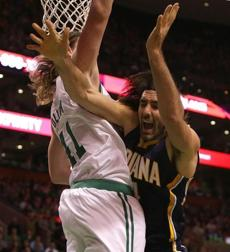 Scola was fouled by Olynyk as he drove for a layup in the first half.