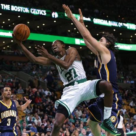 Jordan Crawford was unable to convert as he went up for a shot while being defended by Scola.