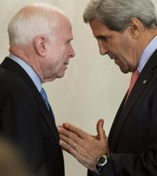 "US Secretary of State John Kerry spoke with Senator John McCain in September. McCain has called Kerry  a ""human wrecking ball."""