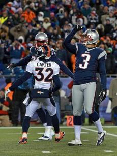 Stephen Gostkowski pumped his fist he watched his game-winning field goal clear the crossbar.