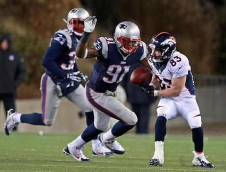 Welker couldn't hold onto the ball as he was about to be hit by linebacker Jamie Collins in overtime.