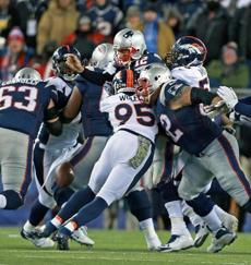 Brady fumbled the ball as he was hit.