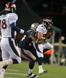 Welker caught a pass but was brought down by Dont'a Hightower just short of first down.