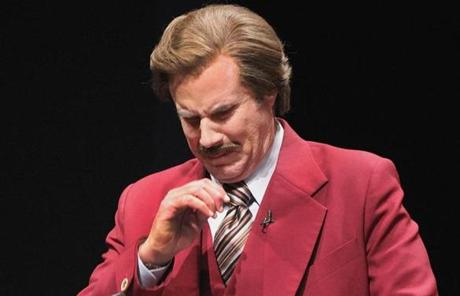 It wasn't all fun and games; the ever-emotional Burgundy character choked up at one point during the news conference.