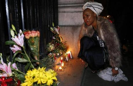 Lungi Morrison, the granddaughter of Archbishop Desmond Tutu, sang after lighting a candle for Mandela in London.
