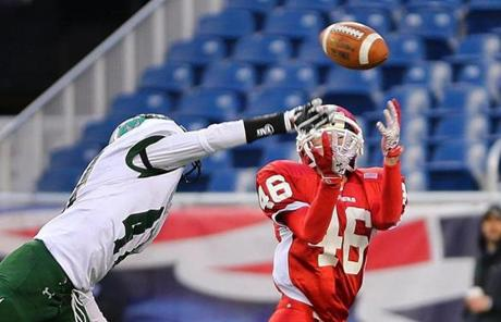 Mansfield's Aurian Dawkins deflected a long pass in the end zone intended for Michael McGillicuddy from St. John's of Shrewsbury.