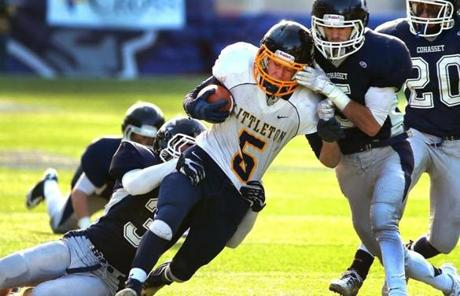 Littleton's Travis Bassett ran the ball in the third quarter against Cohasset.