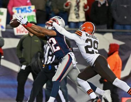 Officials called pass interference on Leon McFadden with 35 seconds left in the game on this play. The penalty gave the Patriots a first-and-goal at the 1-yard line.