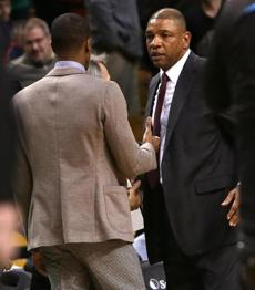 Rajon Rondo spoke with Doc Rivers at the end of the game.