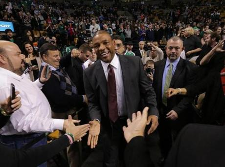 Clippers head coach Doc Rivers was greeted as he entered TD Garden Wednesday.