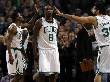 Crawford and Faverani celebrated after Jeff Green was fouled while making a layup with nine seconds left in the game.