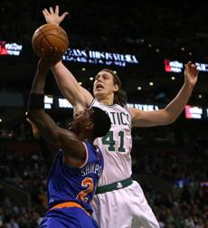 Kelly Olynyk rejected a shot attempt by Iman Shumpert in the second half.
