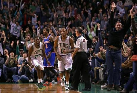 Avery Bradley brought Celtics fans to their feet with a 23-foot 3-pointer, with the assist from Crawford.