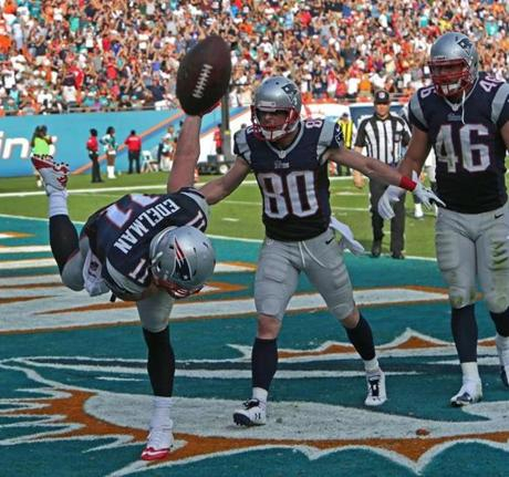 Edelman celebrated his touchdown in the fourth quarter.