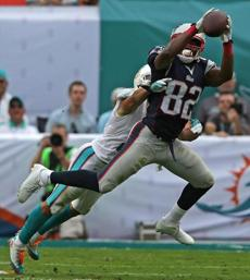 Dolphins cornerback Brent Grimes broke up a pass intended for Patriots wide receiver Josh Boyce.