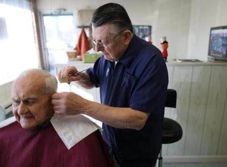 Barber Johns : Barber John Romanowicz cutting the hair of Arthur Sullivan, a long ...