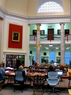 The reading room at the American Antiquarian Society is large and bright.