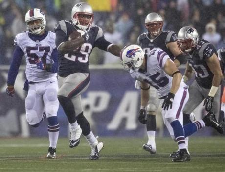 The running back straight-armed Chris Hogan in a 62-yard return in the fourth quarter.