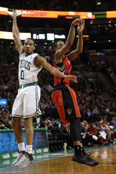 Avery Bradley made a jump shot past DeMar DeRozan in the third quarter.