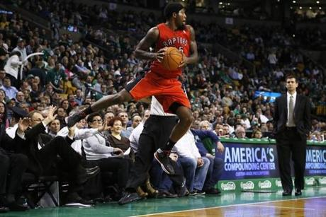 Raptors guard John Salmons saved a ball from going out of bounds.