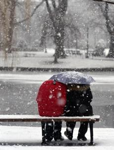 Boston, MA 011814 ... then all is well when Dallas Masters (Cq) in red, decides to share her umbrella with Brian Ash (Cq) of Boston as big snow flakes fall on the Public Garden on January 18, 2014. (Essdras M Suarez/ Globe staff)/ MET