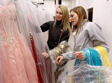 Deirdre Somerville and Melanie Somerville, of Tewksbury check out prom dresses at The Ultimate.
