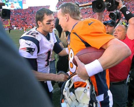 Brady and Manning shook hands and exchanged words after the game.