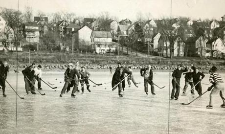 December 10, 1934: The first day of outdoor skating opened at Arlington Reservoir in Arlington Heights. Hundreds of youthful skaters took advantage of the thick ice to enjoy a day of fun. The ice had frozen to a thickness of three inches in some places as the temperature, with a reading of 3 degrees, was the lowest in Boston since 1902.