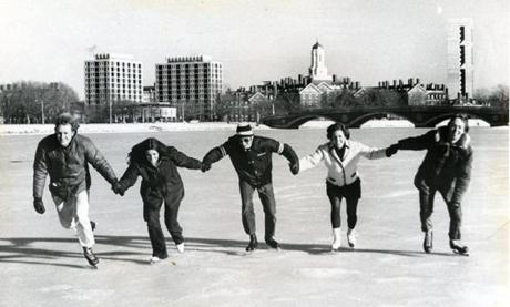 January 13, 1971: The frozen Charles River provided a wide expanse to skate together for this happy group.