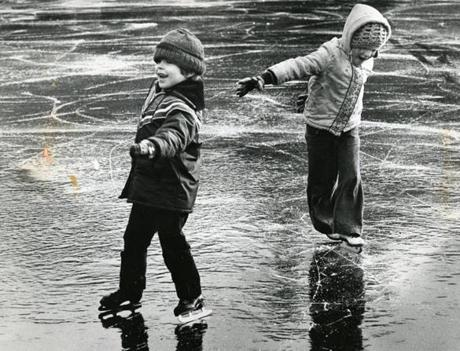 December 12. 1977:  Paul Sundue, 5, and Melissa Novakoff, 5, both of Hingham, made their first skating attempts at the Hingham Skating Club.