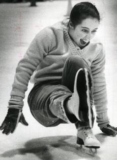 February 7, 1984: Marlene Almeida tried to brace her fall in skating class at the North End skating rink.